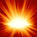 Red golden light burst with stars. Festive red golden light burst and stars with centre in lower third of the square image. 7 global colors, background Stock Image