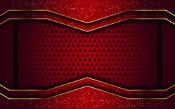 Red with golden line abstract modern background stock illustration