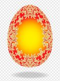 Red golden painted Easter egg with a pattern of lilies and a place for text 3d stock illustration