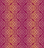 Red golden pattern. Red  pattern with golden stripes Stock Photo