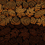 Red golden pattern with different tree leaves such as oak and maple, chestnut and birch, aspen and linden, poplar and ginkgo Royalty Free Stock Images