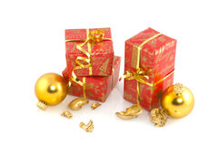 Red and golden presents Royalty Free Stock Images