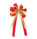 Red golden Ribbon and Bow isolated Royalty Free Stock Photo