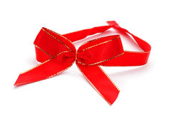 Red and golden ribbon bow Stock Photography