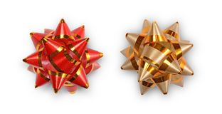 Red and golden ribbon bows for decoration gifts. On white background Royalty Free Stock Photo