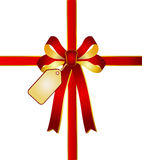 Red - golden ribbon with card tag. Illustration of a red - golden ribbon with card tag Royalty Free Stock Images