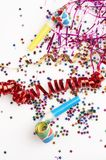 Red and golden ribbons and small confetti colorful Stock Photo