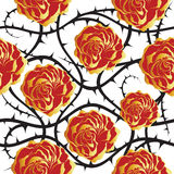 Red and golden roses. Seamless vector pattern. Royalty Free Stock Photos