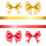 Red and golden silk bows Stock Image