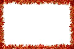 Red and golden tinsel frame isolated on white Royalty Free Stock Photo