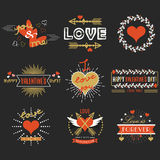 Red and golden Valentines day design elements set on black background Royalty Free Stock Image