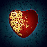 Red and golden Valentines heart Stock Photography