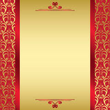 Red golden vector card with red ribbons Royalty Free Stock Photos