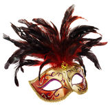 Red and golden venetian mask. (isolated on white Royalty Free Stock Photo