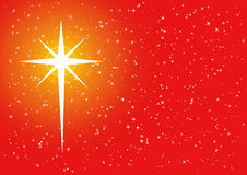 Red golden xmas cross star. Christmas background with cross shaped star Royalty Free Stock Photo