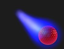 Red golf ball burning. Blue light on black Royalty Free Stock Images