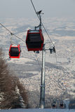 Red gondola in air Royalty Free Stock Image