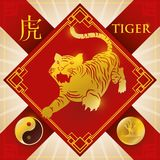 Charm with Chinese Zodiac Tiger, Wood Element and Yang Symbol, Vector Illustration. Red good luck charm with golden frame, symbols and silhouette of Chinese Stock Images