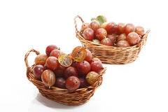 Red gooseberries in baskets Stock Photo