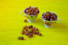 Red gooseberries in cups. Gooseberry  health food concept. red gooseberries in cups. gooseberries  in a vintage  cup on rustic yellow wooden table. berries in Royalty Free Stock Photography