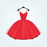 Red gorgeous party dress. Vector illustration stock illustration