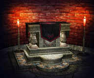 Gothic Altar Interior Background Royalty Free Stock Photos
