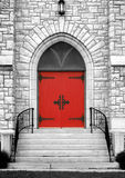 Red gothic church door Stock Images