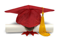 Red Grad Hat and Diploma Stock Photography