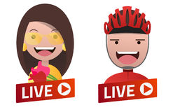 Red gradient Live Stream sign with Actress and Cyclist avatars. Red gradient Live Stream sign with Actress and Cyclist avatar set. Emblem, logo, badge. Flat Stock Images