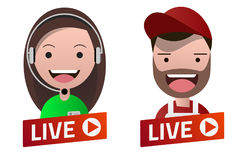 Red gradient Live Stream sign with Carpenter and Operator avatar Royalty Free Stock Images