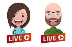 Red gradient Live Stream sign with Doctor and Professor avatars. Royalty Free Stock Photography