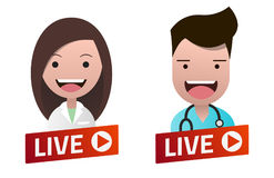 Red gradient Live Stream sign with Nurse and Doctor avatar set. Stock Image