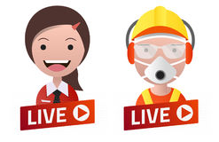 Red gradient Live Stream sign With worker and secretary avatars. Red gradient Live Stream sign With worker and secretary avatar set. Emblem, logo, badge. Flat Stock Photo
