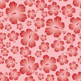 Red gradient on pink random hibiscus flower seamless repeat pattern background. Two colour random hibiscus flower seamless repeat pattern background. Could be Stock Photography