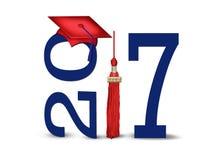 Red 2017 graduation cap with tassel stock illustration