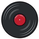 Red gramophone lp record. Gramophone lp record with red label and party hard text  illustration Stock Photos
