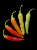 Red, gran, yellow hot chili peppers Royalty Free Stock Images