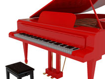 Red grand piano. High resolution image. 3d illustration Stock Photos