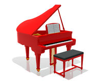 Red grand piano. Digital illustration of a red piano with bench against a white background Royalty Free Stock Photos