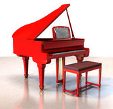 Red grand piano Stock Images