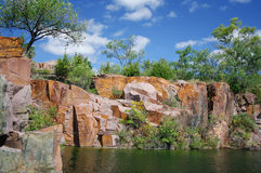 Red Granite. This quarry in Montello, Wisconsin supplied granite for the tomb of U. S. Grant after an extensive search and comparison with samples from 280 other Royalty Free Stock Photos