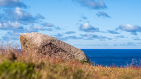 Red granite rock on the northern part of Bornholm Stock Images
