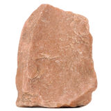 Red Granite Stone Isolated on White Background. A close-up of red granite stone isolated on a white background - vertical orientation stock image
