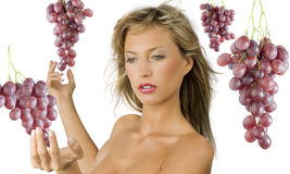Red grape blond girl Stock Image