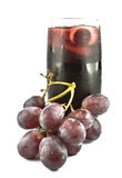 Red grape fruits and juice. On white background Stock Images
