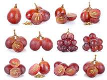 Red grape isolated on the white background Stock Photos