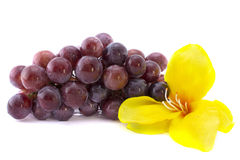Red grape isolated on white background with a yell Royalty Free Stock Image