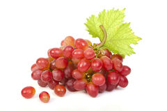 Red grape with leaf Royalty Free Stock Photos