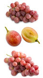 Red Grape and slice in half on white background Stock Photography