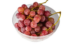 Red grape in white bowl Stock Images